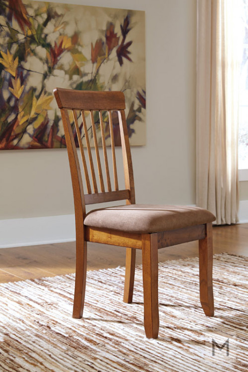 Berringer Upholstered Dining Side Chair in Rustic Brown