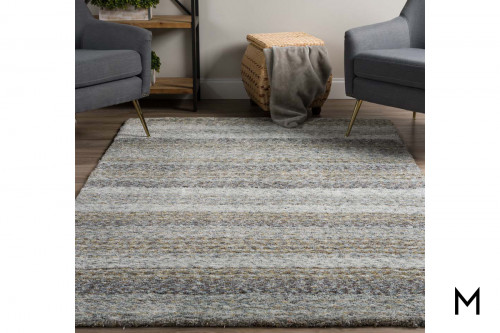 Striped Pewter Area Rug 5' x 8'