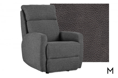 M Collection Primo Wall Hugger Leather Recliner in Eastwood Slate
