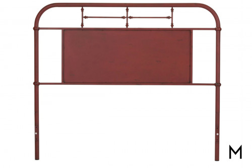Vintage Metal Headboard - Queen in Red