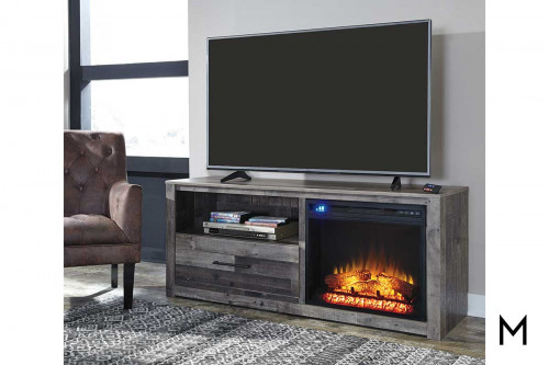 Derekson Large TV Stand with Fireplace