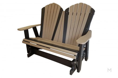 Weatherwood with Black Loveseat Glider