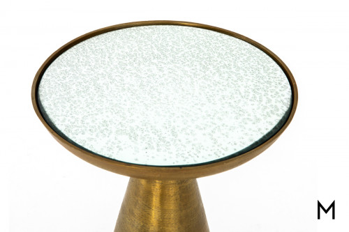 Pedestal Side Table in Brushed Brass