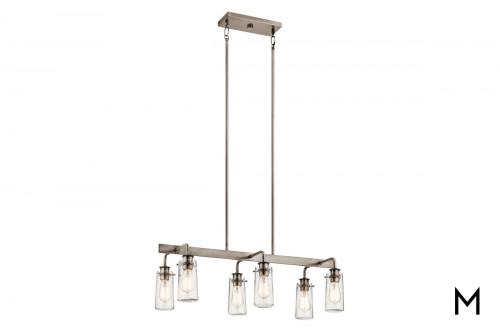 Linear 6-Light Pewter Chandelier