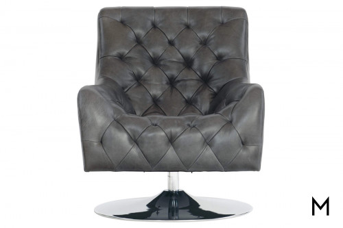Contemporary Tufted Leather Swivel Chair