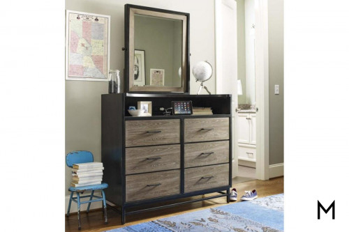 Dresser and Tilt Mirror with 6-Drawers