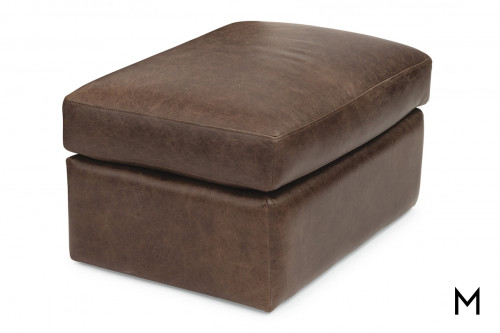 Leather Ottoman in Chocolate Brown