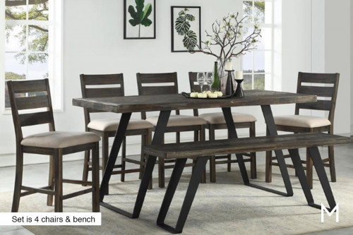 Aspen Court 6 Piece Dining Set with Bench & 4 Chairs