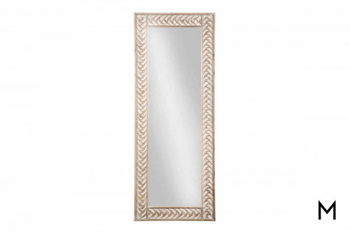 Nash Floor Mirror in Whitewashed Wood