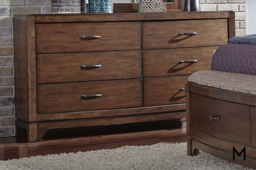 Avalon III 6 Drawer Dresser in Pebble Brown