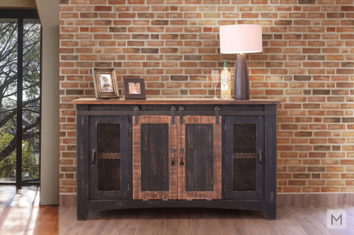 "Pueblo Black 60"" TV Console with Sliding Barn Doors"