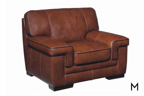 M Collection Stampede Leather Chair in Chestnut