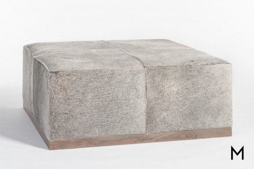 Felix Leather Ottoman in Frosted Hide