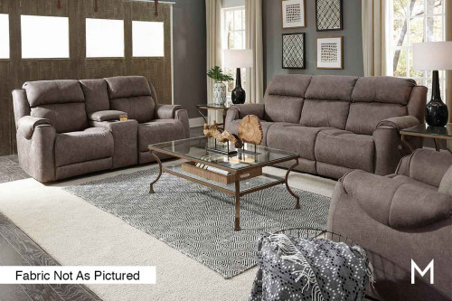 M Collection Safe Bet Reclining Sofa in Hot Shot Taupe
