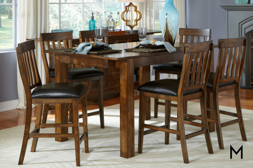 Mariposa Five Piece Gathering Dining Set in Rustic Whiskey