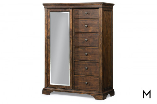 Daisy Tall Bedroom Chest with Mirrored Sliding Door