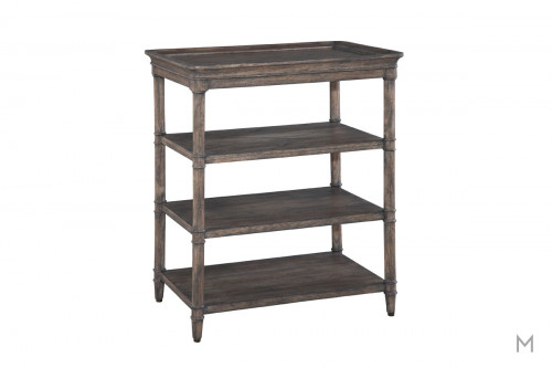 Lincoln Park Three-Shelf Lamp Table in Weathered Gray