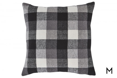 "Buffalo Check Accent Pillow 20""x20"" in Black and White"