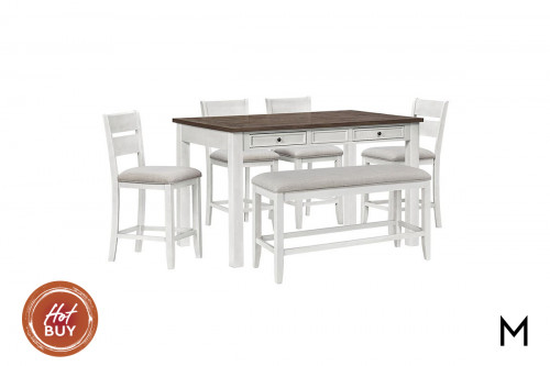 Kyle Light Counter Height Dining Set with Bench