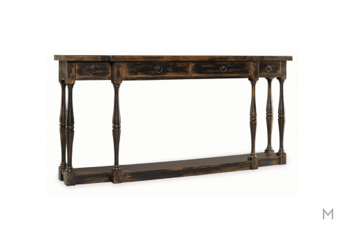 Sanctuary Four Drawer Thin Console Table Featuring Hand Rubbed Ebony Finish  ...