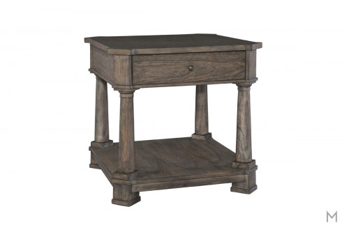 Lincoln Park Drawer End Table in Weathered Gray