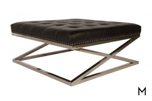 Peyton Cocktail Ottoman with Tufted Leather Top