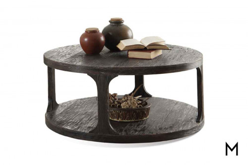 Bellagio Round Coffee Table in Weathered Black