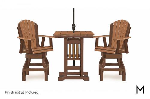 Adirondack Swivel Counter Height Chair in Dark Gray and White
