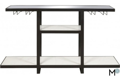 Industrial Bar Console with Marble Shelves