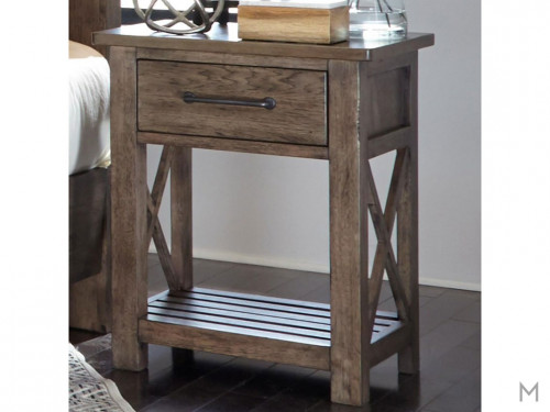 Sonoma Road 1 Drawer Nightstand with Slat Shelf