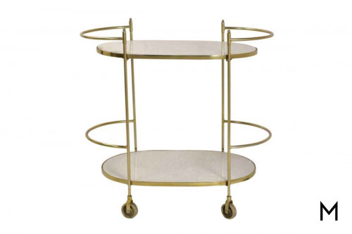 Manor Bar Cart in Gold & Marble