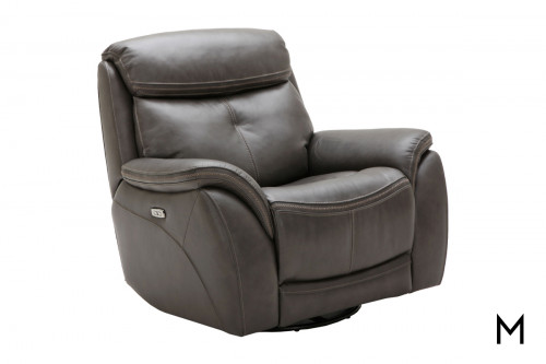 M Collection Homerun Swivel Power Recliner in Kipton Cocoa Leather