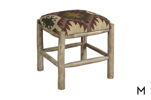 Reclaimed Wood Stool with Upholstered Seat