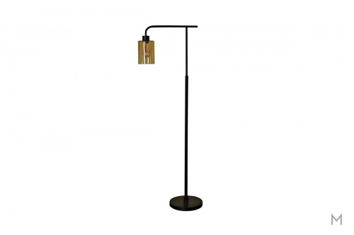 Edison Bronze Metal Floor Lamp featuring Seeded Amber Glass