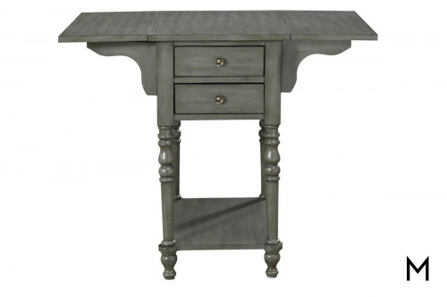 Two Drawer Drop Leaf End Table in Gray