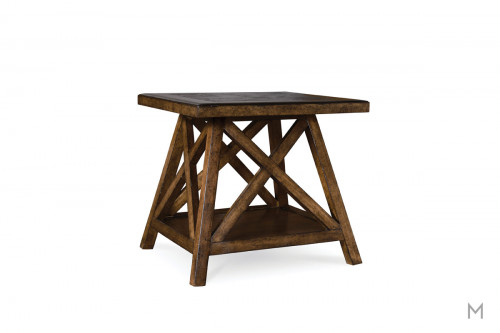 Echo Park End Table with Inlaid Acid-Washed Bluestone