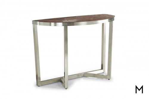 Axis Demilune Console Table with Plated Steel Frame