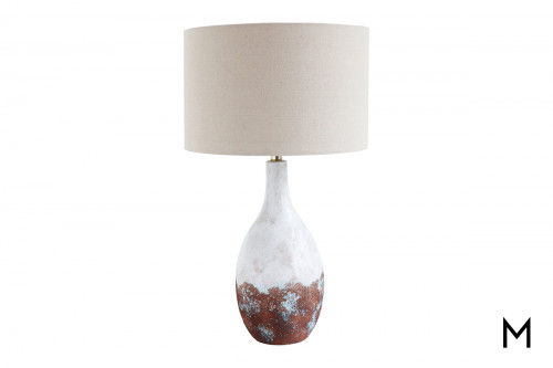 White and Copper Glazed Table Lamp