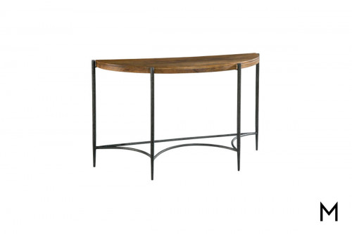 Bedford Demilune Sofa Table in Metal & Wood