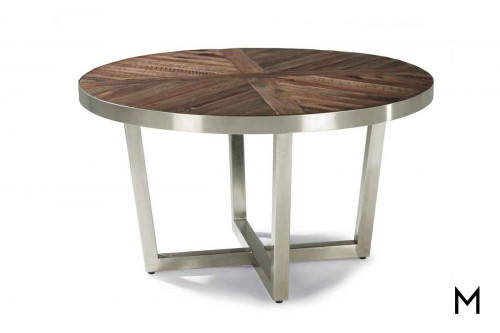 Axis Round Coffee Table with Plated Steel Frame