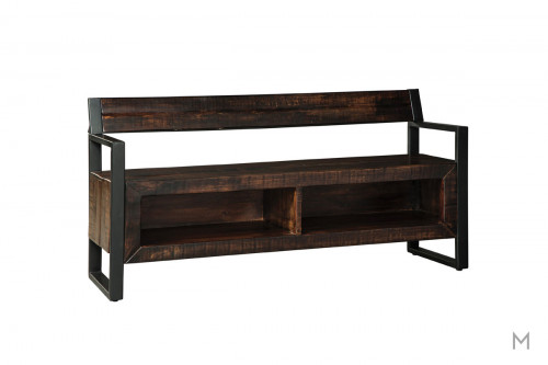 Glosco Wooden Storage Bench with Metal Arms and Wood Back
