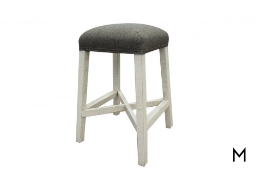 Stone Counter Height Stool with Fabric Seat