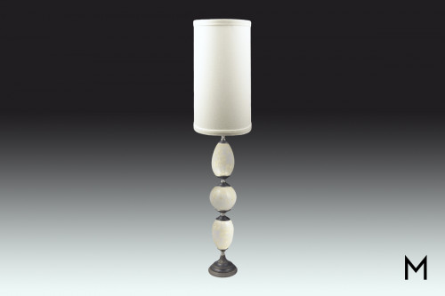 Iris Table Lamp in Ivory and Graphite