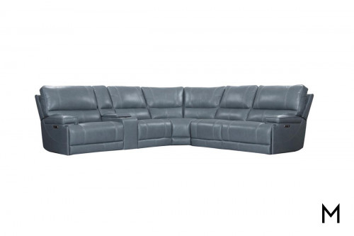 M Collection Leather 6-Piece Power Reclining Sectional Sofa with Console