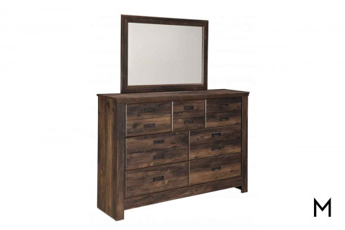Quinden Dresser Mirror in Dark Brown with a Vintage Finish