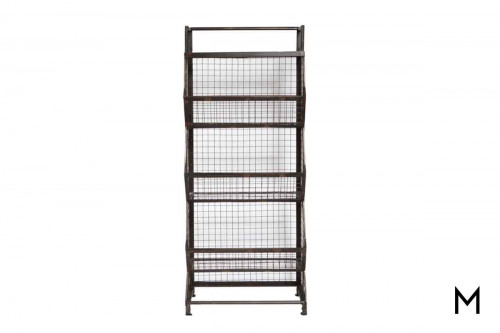 Three Tier Metal Bin Etagere with Stationary Bins