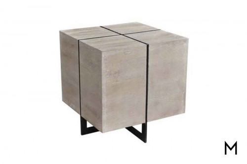 Cubed Manor End Table in Antiqued Nickel and Acacia Wood