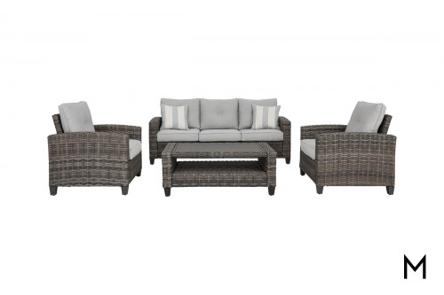 Patio 4 Piece Conversation Set with Sofa, 2 Chairs, and Cocktail Table