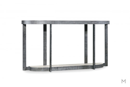Mill Valley Demilune Console Table featuring Metal Frame and Travertine Marble Top