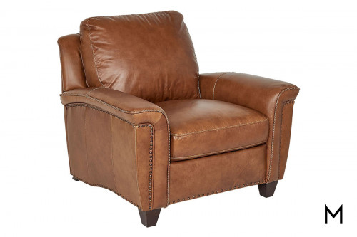 M Collection Vesuvius Leather Accent Chair